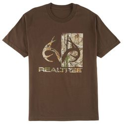 New! Realtree Mens Half Camo Logo T-Shirt