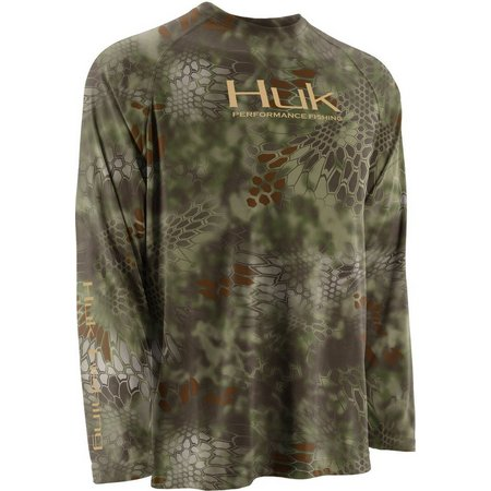 Huk Mens Green Kryptek Raglan Performance T-Shirt