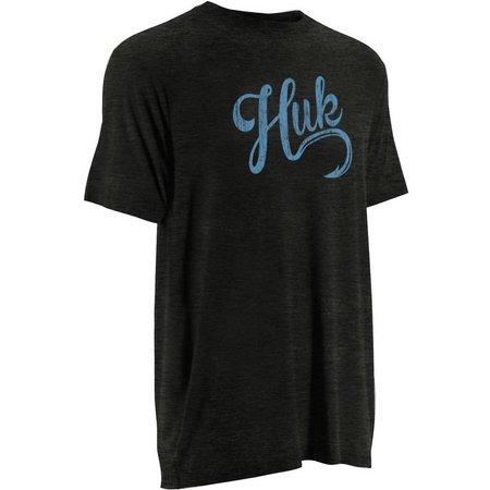 Huk Mens Distressed Script Logo T-Shirt