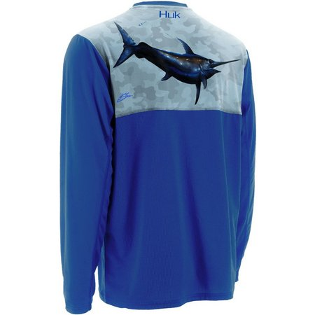 New! Huk Mens KScott Midnight Banks Long Sleeve