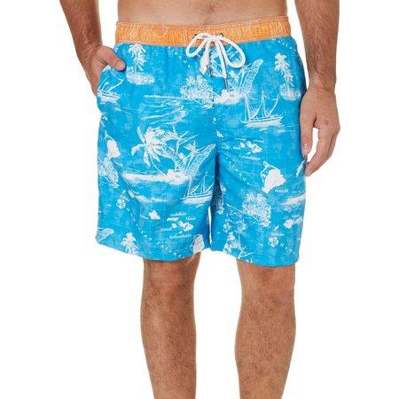 Margaritaville Mens Blue Island Swim Trunks