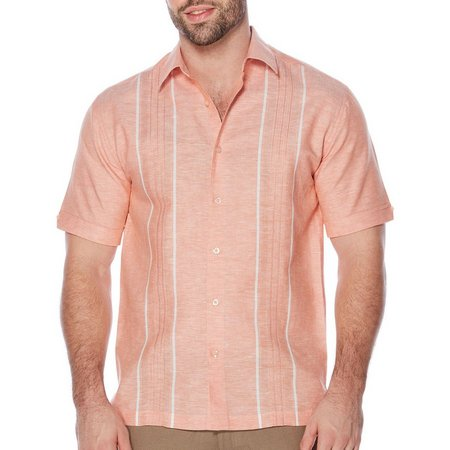 Cubavera Mens Cuffed Sleeves Embroidered Shirt