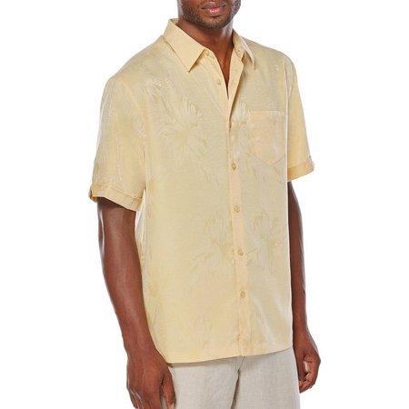 Cubavera Mens Short Sleeve Floral Jaquard Shirt