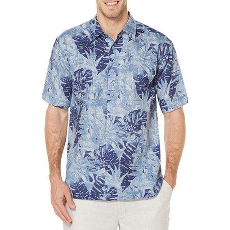 Cubavera Mens Faded Blue Allover Tropical Shirt