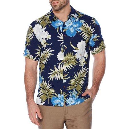 New! Cubavera Mens Allover Blueprint Floral Shirt