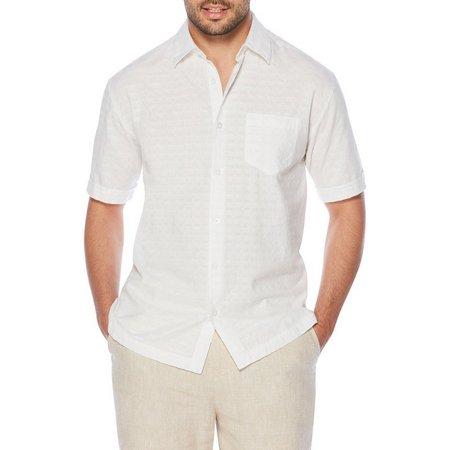New! Cubavera Mens White Seersucker Short Sleeve Shirt