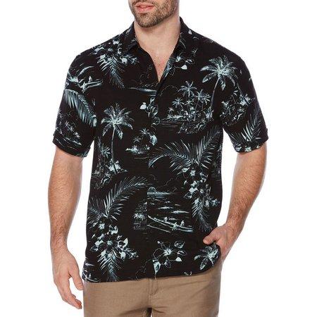 New! Cubavera Mens Tropical Black Conversation Shirt