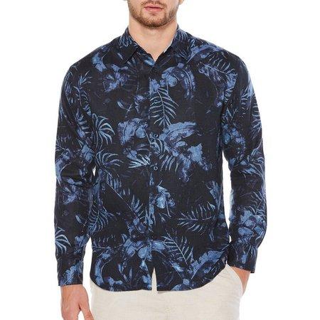 Cubavera Mens Allover Leaf Long Sleeve Shirt