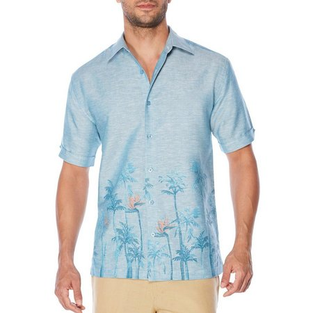 Cubavera Mens Border Palm Short Sleeve Shirt