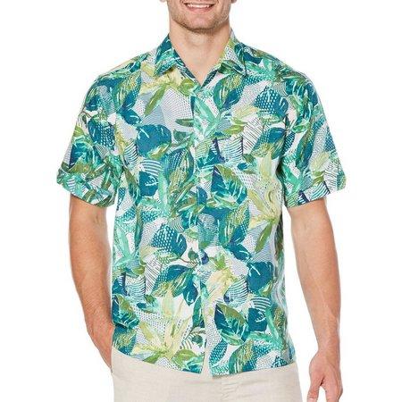 Cubavera Mens Allover Tropical Jungle Short Sleeve Shirt