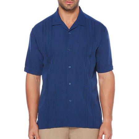 Cubavera Mens Estate Vertical Short Sleeve Shirt