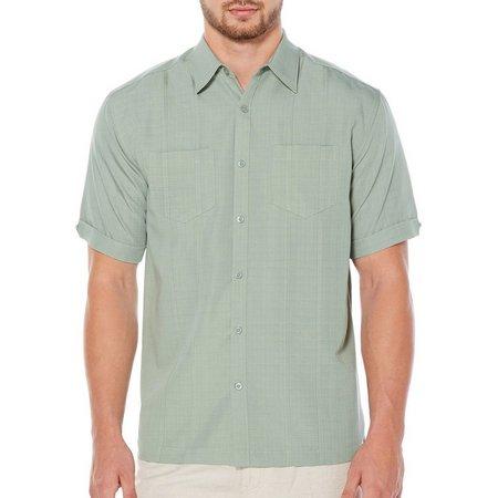 Cubavera Mens Solid Dual Pocket Short Sleeve Shirt