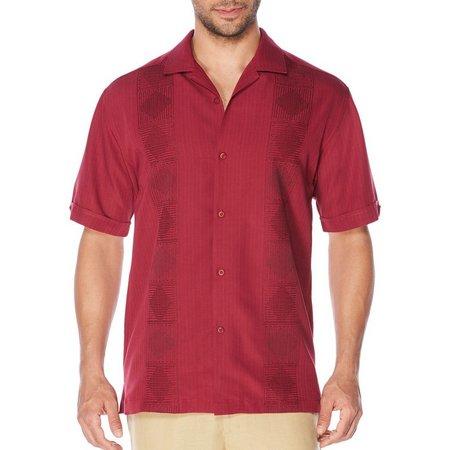 Cubavera Mens Rhododendron Vertical Short Sleeve Shirt