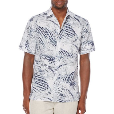 Cubavera Mens All Over Tropical Leaf Woven Shirt