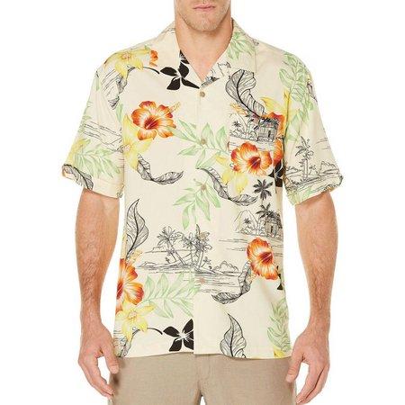Cubavera Mens Retro Leaf Print Woven Shirt