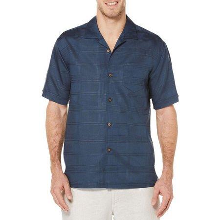 Cubavera Mens Short Sleeve Dobby Plaid Shirt