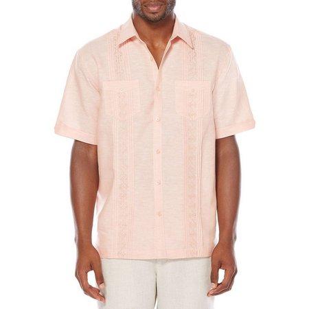 Cubavera Mens Geometric Embroidery Shirt