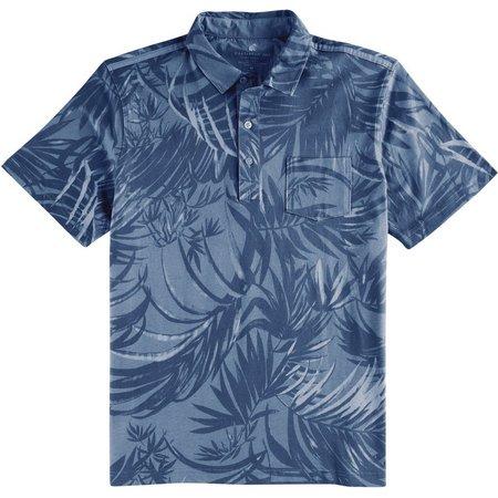 Caribbean Joe Mens Leaf Poplin Polo Shirt