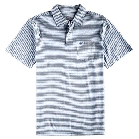 Caribbean Joe Mens Stripe Cotton Polo Shirt