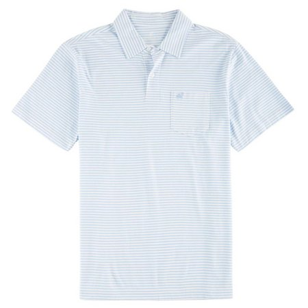 New! Caribbean Joe Mens Stripe Cotton Polo Shirt