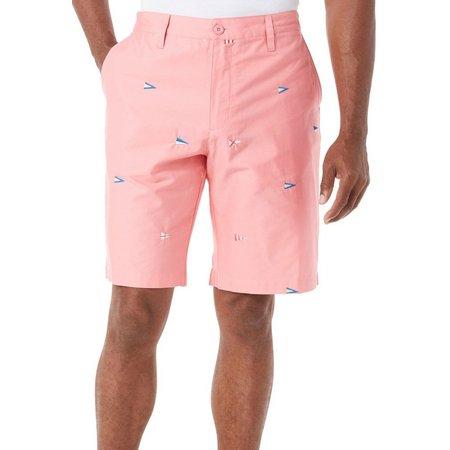 Caribbean Joe Mens Flag Embroidered Shorts