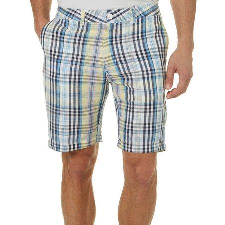 Caribbean Joe Mens Noon Sky Plaid Shorts
