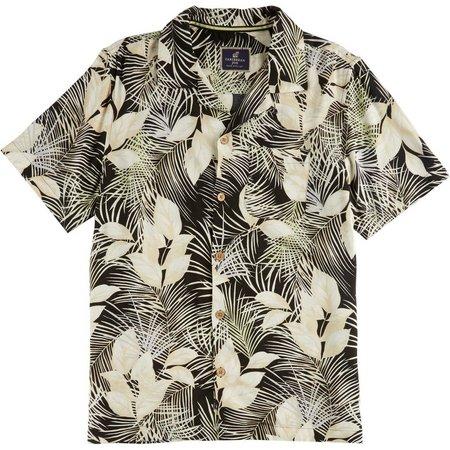Caribbean Joe Mens Black & Ivory Floral Shirt
