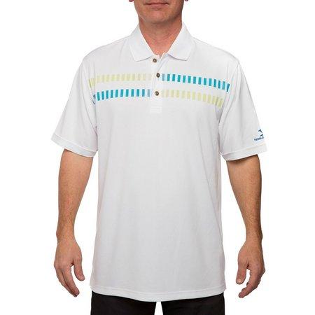Pebble Beach Mens Geo Stripe Performance Golf Polo