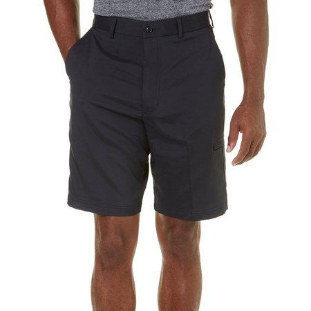 Pebble Beach Mens Dobby Diamond Black Cargo Shorts