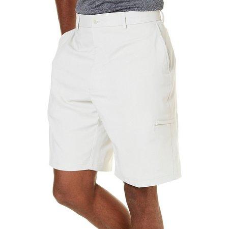 Pebble Beach Mens Dobby Diamond Khaki Cargo Shorts