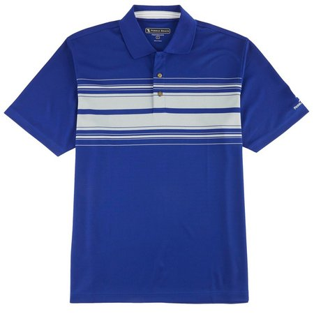 Pebble Beach Mens Grey Stripe Polo Shirt