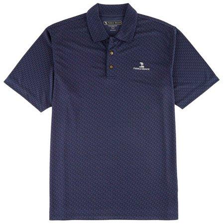 New! Pebble Beach Mens Tonal Jaquard Polo Shirt