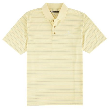 New! Pebble Beach Mens Yellow Multi Stripe Polo