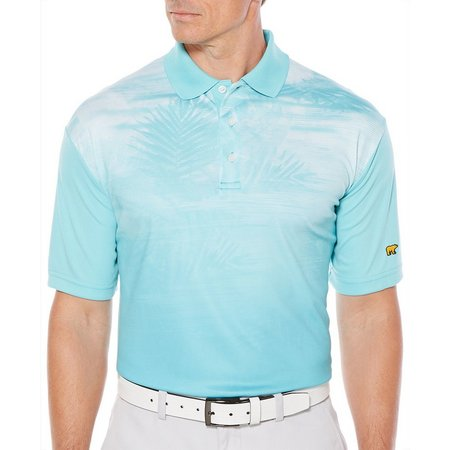 Jack Nicklaus Mens Blue Diffused Palm Shirt