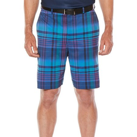 Jack Nicklaus Mens Blue Madras Plaid Shorts