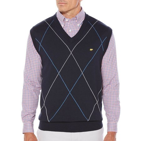 Jack Nicklaus Mens Argyle Stripe Sweater Vest