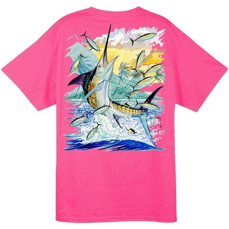 Guy Harvey Mens Pink Island Marlin T-Shirt