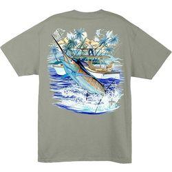 Guy Harvey Mens Marlin And Boat 2 T-Shirt