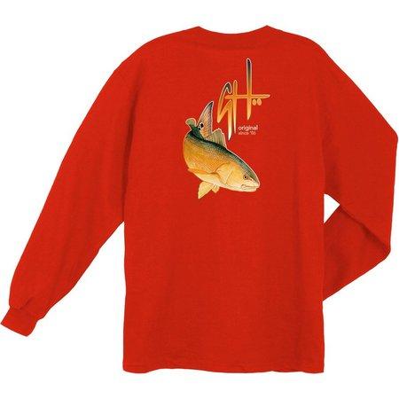 Guy Harvey Mens Fish Logo Long Sleeve T-Shirt