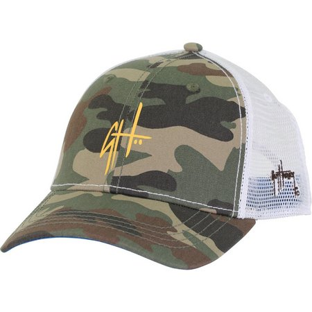 Guy Harvey Mens Green Camo Letterman Hat