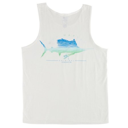 Guy Harvey Mens Sailfish Scribble Tank Top