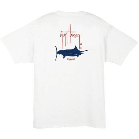 Guy Harvey Mens White Barrel Logo T-Shirt