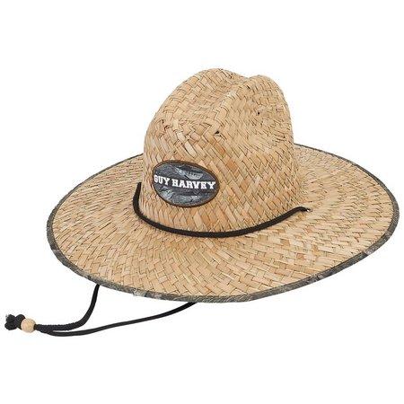 Guy Harvey Mens Straw Patch Camo Trim Hat