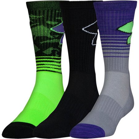 Under Armour Mens 3-pk. Green Phenom 2.0 Socks