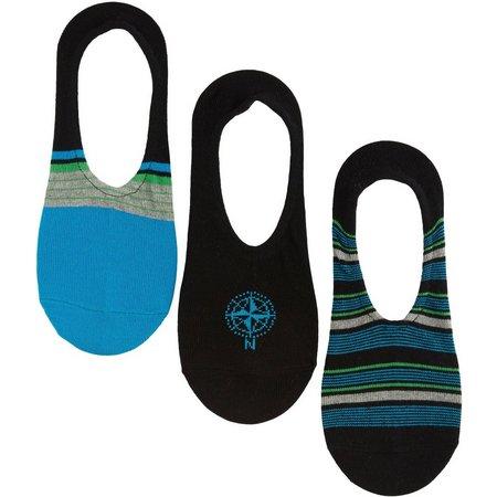 Boca Classics Mens 3-pk. Black Liner Socks