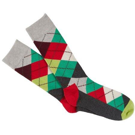 Happy Socks Mens Christmas Argyle Crew Socks