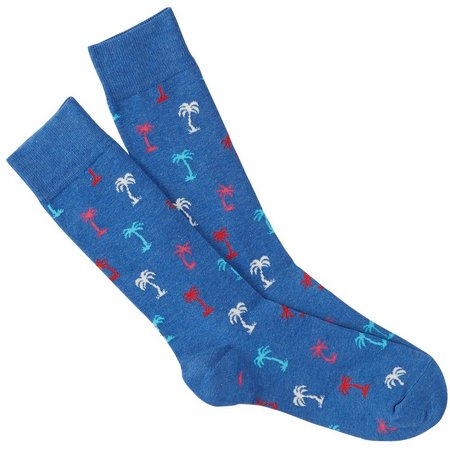 Happy Socks Mens Blue Palm Crew Socks