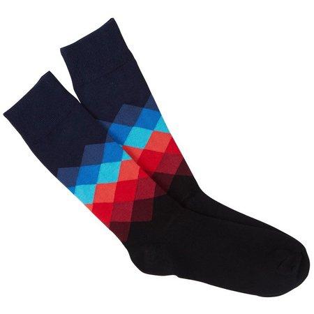 Happy Socks Mens Blue Faded Diamond Crew Socks