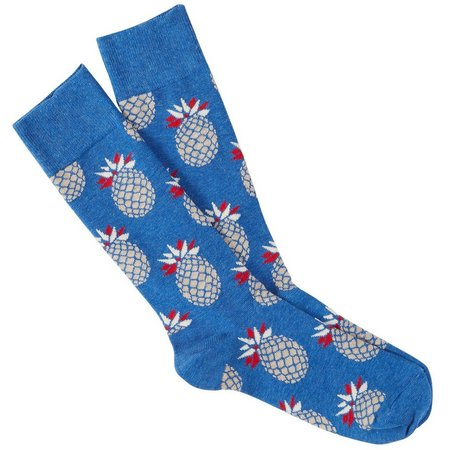 Happy Socks Mens Blue Pineapple Crew Socks