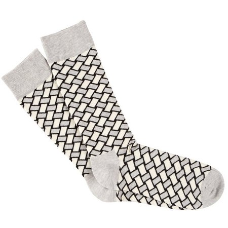 New! Happy Socks Mens Grey Basket Weave Crew